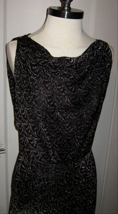 Vintage 1960s Wiggle Dress Black Glitter Gold by vivalasvixens, $49.00