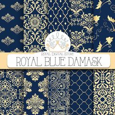 "Damask Digital Paper: ""Royal Blue Damask"" with royal blue damask, dark azure damask, gold , blue damask digital paper #wedding #gold #planner #damask #blue #romantic #digitalpaper #scrapbookpaper"