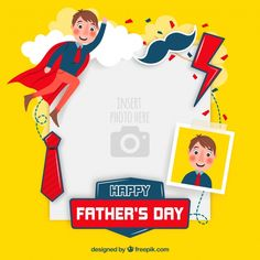 Fathers day template to paste image Free Vector Happy Daddy Day, Happy Fathers Day, Dad Day, Mom And Dad, Banners, Design Plano, Fathers Day Cake, Diy Baby Headbands, School Decorations