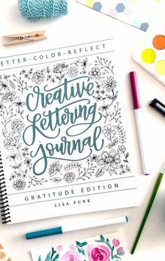 Just love this creative lettering journal! First I'm gonna practice my handwriting and then create those beautiful headings & cover pages in my bullet journal I see on Insta. I've got so much ideas & creative inspiration for my bujo right now! Bullet Journal Ideas Pages, Bullet Journal Inspiration, Journal Prompts, Journals, Hand Lettering Fonts, Creative Lettering, Typography, Brush Lettering, Cool Notebooks