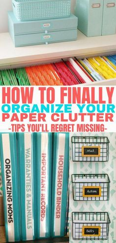 These paper clutter organization ideas are life changing. My favorite idea is th… These paper clutter organization ideas are life changing. My favorite idea is the home organization binder. Finally, organize your paper clutter! Organisation Hacks, Organizing Hacks, Organizing Paperwork, Clutter Organization, Home Office Organization, Organizing Your Home, Office Decor, Organizing Paper Clutter, Organising