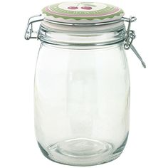 GreenGate Glass Storage Jar 1000 ml - Cherry Green ($9.75) ❤ liked on Polyvore featuring home, kitchen & dining, food storage containers, green, glass food storage containers, glass storage jars, green food storage containers, glass pasta storage jars and greengate