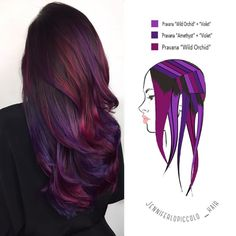 These 6 Hair Painting Diagrams Show You Exactly How to Get Color Like This - Hair - Hair New Hair Colors, Cool Hair Color, Hair Color How To, Winter Hair Colors, Hair Color Ideas, Hair Color Purple, Purple Ombre, Amazing Hair Color, Color Red