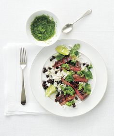 Rice and Beans With Steak and Fresh Tomatillo Salsa | RealSimple.com