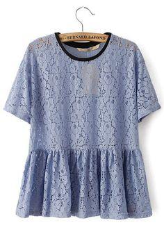 Light Blue Patchwork Lace Short Sleeve Spandex T-Shirt. Beautiful blue.
