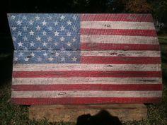 Folk Art Flag (No. 325): Wooden Wall Art | Chuck Gardner (Folkartflag), $200.00 #America #USA #Patriotic