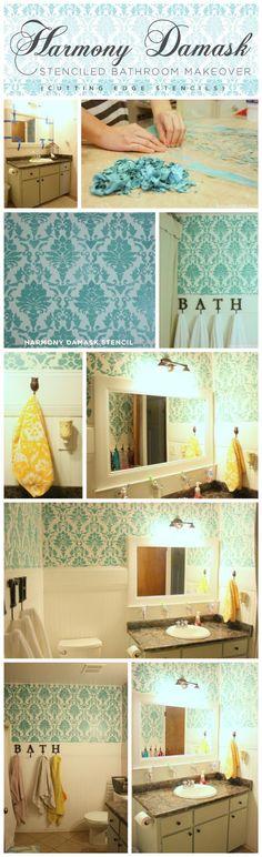 DIY Stencil     : Harmony Damask Stenciled Bathroom Makeover