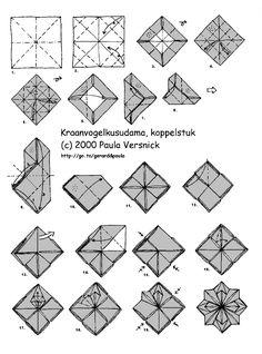 Origami star - see loop kusadama module Snowflake Origami, Origami Ball, 3d Origami, Origami Stars, Origami Flowers, Origami Paper Art, Fabric Origami, Origami Instructions, Origami Tutorial