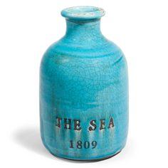 FANTASIA stoneware vase in blue H 22cm