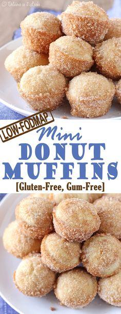 Donut Muffins {Low-FODMAP, Gluten-Free, Gum-Free} / Delicious as it Looks (mini muffin desserts grain free) Donut Muffins, Muffins Sans Gluten, Dessert Sans Gluten, Gluten Free Donuts, Gluten Free Baking, Gluten Free Desserts, Mini Muffins, Mini Donuts, Lemon Desserts