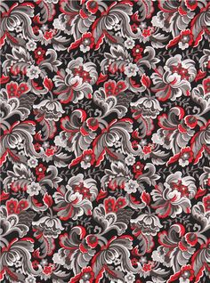 black and red blossoms fabric 'Arabella' (modeS4u)