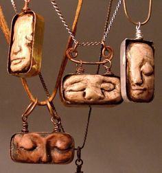Vintage watch tins (Elgin, Excelsior, etc) are used to frame these dreaming faces, and oh what they dream....of all those watches... and all that time. Polymer clay is used to form the faces and acrylic paint is applied as a patina. Each pendant varies in color and pattern so each piece is an original. The pendants can be suspended from copper chain or leather cord. These necklaces can be lengthened or shortened depending on personal preference. Please convo me with any questions, to ask to…
