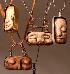 Ruhige Träume, Polymer Clay Gesicht Anhänger
