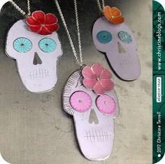 Dia de los Muertos Calaveras | Sugar Skulls | Recycled Jewelry | Tin Jewelry | Tin Necklace | Catrina | Skull Necklace | Day of the Dead Upcycled Tin Necklaces by christineterrell for adaptive reuse on Etsy