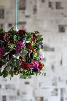 Closeup of DIY Flower Chandelier