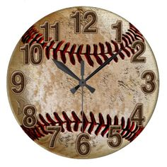 Cool Stone Look Vintage Baseball Clock for Him Wallclocks available here : http://www.zazzle.com/cool_stone_look_vintage_baseball_clock_for_him-256592298827854088?rf=238489066022089310