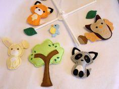 Baby Nursery Crib Mobile Felt Crib Mobile Forest by Coyoteblu, $65.00