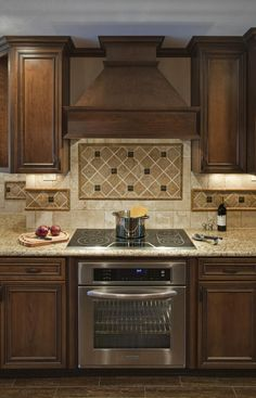 backsplash ideas for under range hood | ... Tops Along With Wooden Vent Hood And Diagonal Tile Kitchen Backsplash