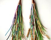 Items similar to Vegan Feather Fringe Earrings on Etsy