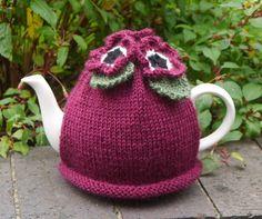 Tea Cosy Dark Pink Flowers by HookLoopKnits on Etsy