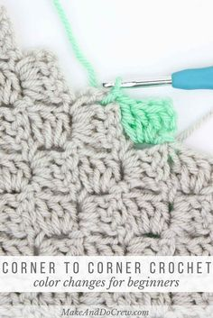 How to change colors in c2c crochet to make graphgans from charts. Beginner step by step corner to corner crochet tutorial from Make & Do Crew.