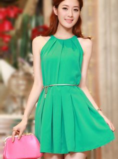 New 2014 spring  summer Sleeveless Slim Sexy Fashion Dress women clothing ,Green casual sundress with belt  ,vestidos gown,S M L US $26.28