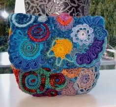 free-form crochet over felt purse