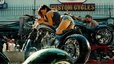 "Megan Fox sober a motorcycle in a sensual fotogram of ""Transformers Megan Fox Transformers, Bike Photoshoot, Motorcycle Wallpaper, Buy Bike, Trailer, Boudoir Photos, Picture Photo, Harley Davidson, Youtube"