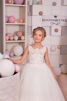 Elfenbein-Spitze Blumen-Mädchen Kleid Hochzeit