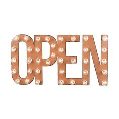 """A chic spin on the iconic """"open"""" signs frequently found in storefronts, the OPEN Marquee Sign will make a whimsical addition to any room. Whether you use it as a stylish indication of your availability...  Find the OPEN Marquee Sign, as seen in the The Urban Landscape Collection at http://dotandbo.com/collections/the-urban-landscape?utm_source=pinterest&utm_medium=organic&db_sku=DBIMRQ-51"""