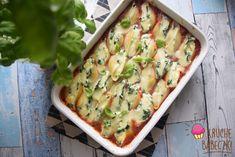 Muszle makaronowe ze szpinakiem i fetą w sosie pomidorowym Mozzarella, Feta, Potato Salad, Potatoes, Ethnic Recipes, Potato