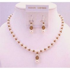 Purchase Ivory Pearls Swarovski Smoked Topaz Drop Down Bridesmaid Necklace Set from FashionJewelryForEveryone on OpenSky Swarovski Crystal Necklace, Swarovski Jewelry, Beaded Jewelry, Handmade Jewelry, Gold Jewellery, Swarovski Crystals, Silver Jewelry, Bridal Necklace Set, Pearls