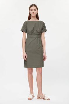 COS image 1 of Wide-neck dress in Khaki Green