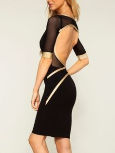 cfd27d791da Shop Black Bodycon Backless Dress With Mesh from choies.com .Free shipping  Worldwide.