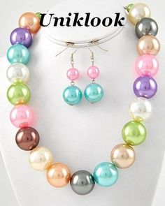 Bubble Gum Colors Ball Big Pearl & Silver Jewelry Necklace Earrings Set Chunky