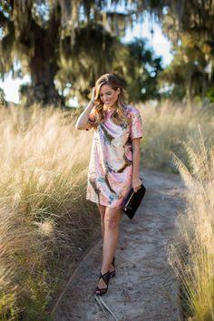 12.14 nye dress (Kate Spade NY 'regal plumes' print metallic jacquard shift dress + Aquazzura heels + Clare V clutch)
