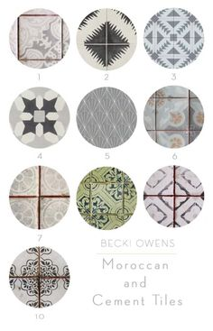 Moroccan and Cement Tile - Becki Owens. for bar kick/front in kitchen Kitchen Tiles, Kitchen Flooring, Bathroom Inspiration, Design Inspiration, Bathroom Ideas, House Tiles, Tile Patterns, Tile Design, Floor Rugs