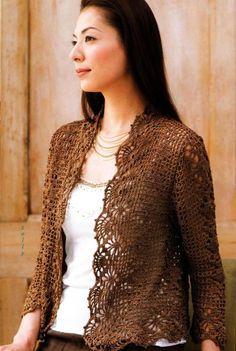 crochelinhasagulhas: Casaco marrom de crochê