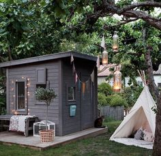 Adorable 80 Incredible Backyard Storage Shed Makeover Design Ideas homevialand. Outside Playhouse, Backyard Playhouse, Build A Playhouse, Playhouse Ideas, Modern Playhouse, Outdoor Playhouses, Outdoor Sheds, Cubby Houses, Play Houses