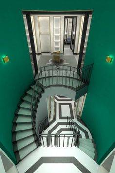 Incredible colour scheme the green goes to nicely with black and white - not to mention a great staircase design