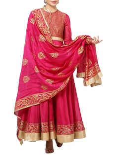 Shop Pink Cotton Silk Anarkali Suit Set By Rohit Bal online at Biba.in - RB3718PNK