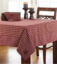 New Country Red BURGUNDY & TAN CHECK STAR TABLECLOTH Applique Table Cloth 102""