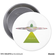 UFO I BELIEVE Button   Available on more products! Type in the name of this design in the search bar on my Zazzle products page to see them all!  #ufo #alien #space #outer #universe #ship #flying #saucer #little #green #men #conspiracy #theory #cartoon #illustration #funny #drawing #digital #scifi #science #fiction #buy #zazzle #sale #for #sale #button #pin #back