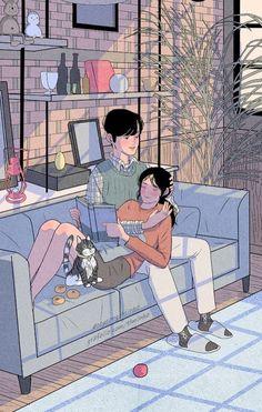 Myeong-Minho romantic couple illustrations - Dibujos, escultura, pintura, etc. Cute Couple Drawings, Cute Couple Art, Anime Love Couple, Couple Cartoon, Cute Drawings, Sweet Couple, Paar Illustration, Couple Illustration, Character Illustration