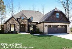 House Plan 60589ND: great looks in front with a screened grilling porch in back.   ~2,000 sq. ft. + a bonus room over the garage 3 beds, 2.5 baths