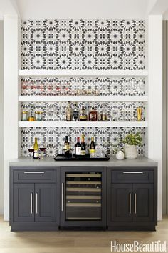 """Cabinet color for the wine """"island"""" with a butcher block topper"""
