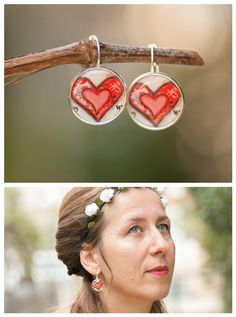 Heart Earrings Boho Chic Inspirational Jewelry Red by LadyArtTalk