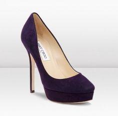 Closed toe Jimmy choo Cosmic softest purple suede 120mm Platform Heels Autumn/Winter 2012