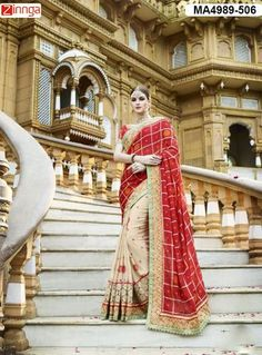 Women's Beautiful Red And Cream Color  Silk And Georgette Saree With Blouse #Sarees #Fashion #Looking #Popular #Offers #Deals #Looking #fashionable #Zinnga #Zinngafashion #Trend  #Trending #Deal #Beautiful #Nice #Look