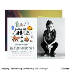 Camping Themed Party Invitation Camping Party Invitations, Zazzle Invitations, Invites, Birthday Invitations, Camping Parties, Camping Theme, Camping Gear, Outdoor Activities For Kids, Childrens Party